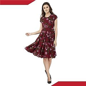 B08BG8JKR1 RUDRAKRITI Crepe Maroon Printed Flared Dress for Women SPN FOR-1