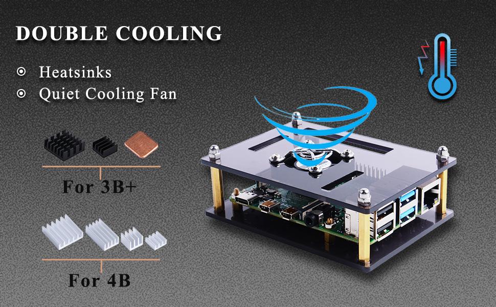 For Raspberry Pi 4 B Acrylic Case Screwdrivers DC 5V Cooling Fan 30x30x7mm Set