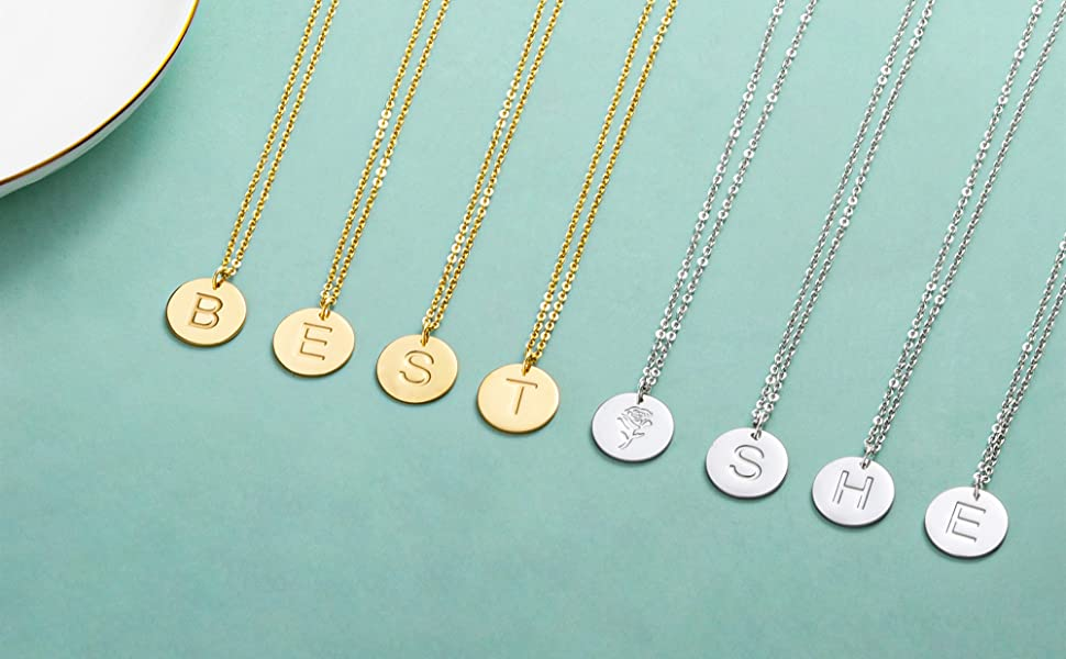 Dainty small letter necklaces for women