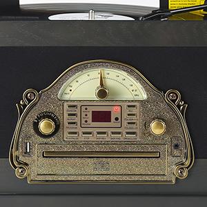 SHUMAN 7 en 1 Negro Retro Tocadiscos Vinilo, Tocadiscos, Reproductor de CD / MP3, Bluetooth, USB, Radio FM Estéreo, Cassette, Función de Grabación, ...