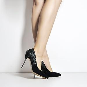 MissHeel High Heels Pointed Toe Pumps Metal Heels Metallasbatz Stilettos Pfennigabsatz