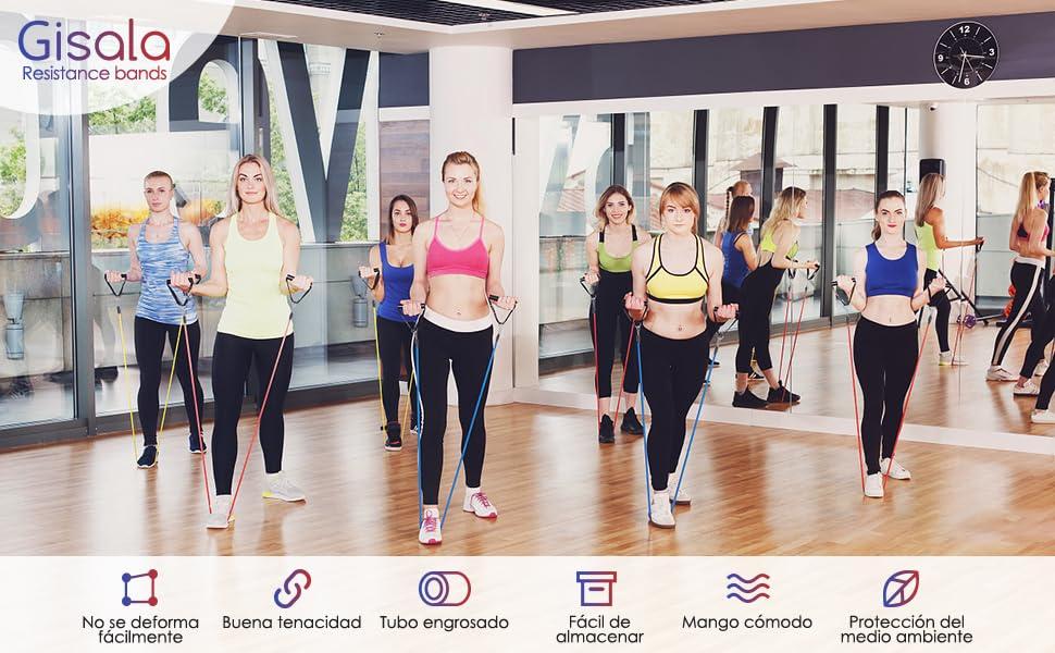 GISALA Bandas de Resistencia/Bandas Elásticas Fitness, Gomas Elásticas Musculación de Caucho Natural, para Yoga, Gym/Hogar, Anclaje de Puerta, con ...
