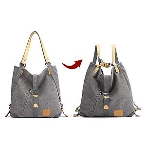 Vintage Canvas Damen Schultertasche Handtasche