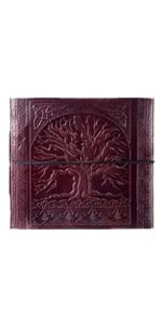 Album photo en cuir fait /à la main Motif grand arbre de vie en relief 240 x 260/mm