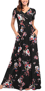 dresses with pockets women's Maxi Dresses Floral Printed Floor Length Classic Fahion 2019 Trendy