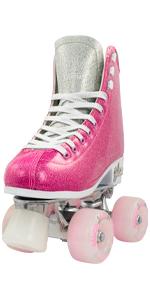 Glitter Roller Skates for Women girls ladies pink silver sparkle beach rink cute sparkling glam
