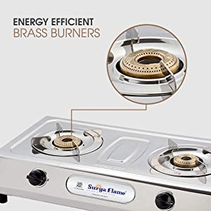 Surya Flame 2B Majestic Stainless Steel Brass Burner Gas Stove (2 Burner) SPN-FOR1
