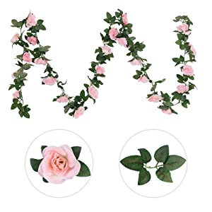 artificial roses vine with leaves