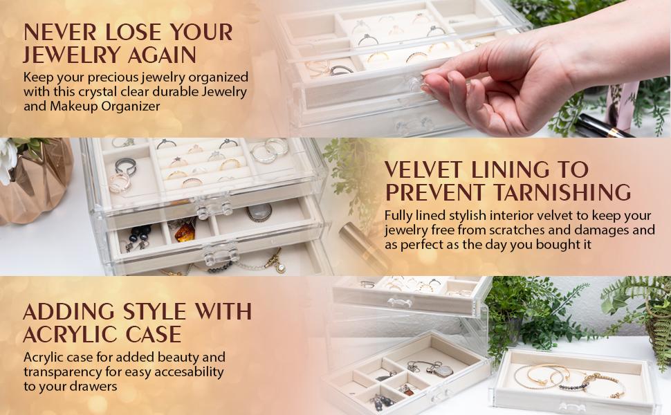 jewelry organizer box makeup holder acrylic case bracelet necklace ring
