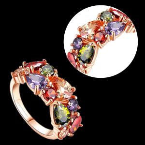 Multicolor Rose gold Rings for women anniversary gift wife Valentine Gift for women girls