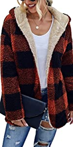 Open Front Sherpa Cardigan Reversible Plaid