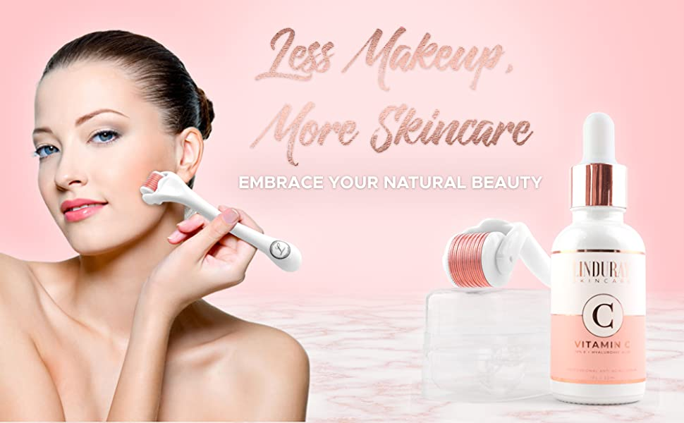 Derma Roller Microneedling Kit for Face 0 30mm - Complete Skin Set with  Vitamin C Serum 20%