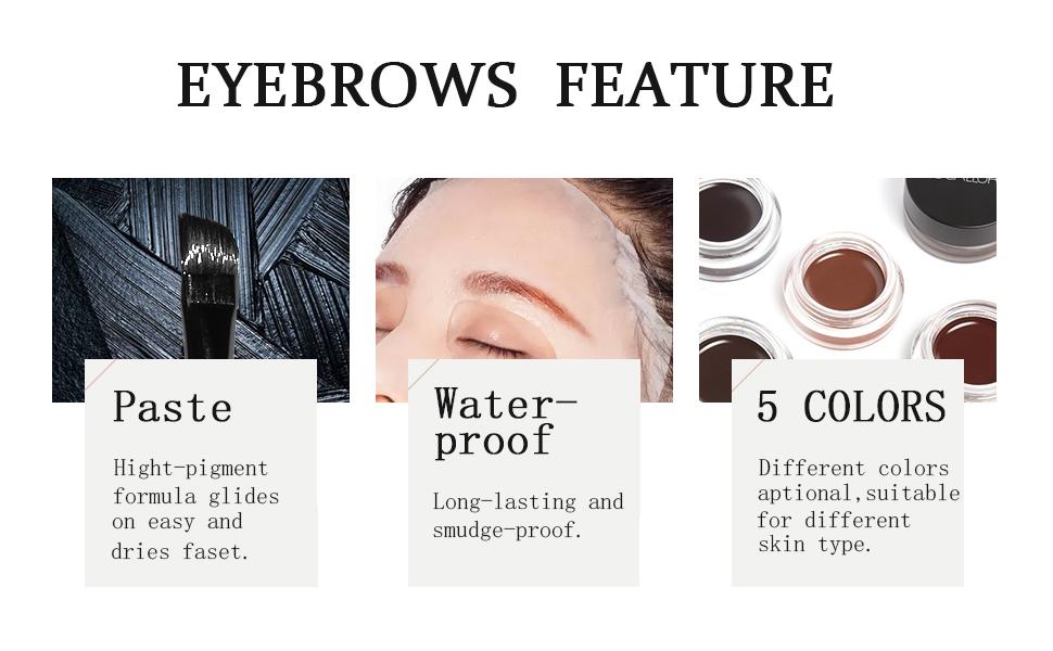 FOCALLURE 2 Pcs Eyebrow Cream/Lock On Brow And Eyeliner/Waterproof Long Lasting Liner Makeup