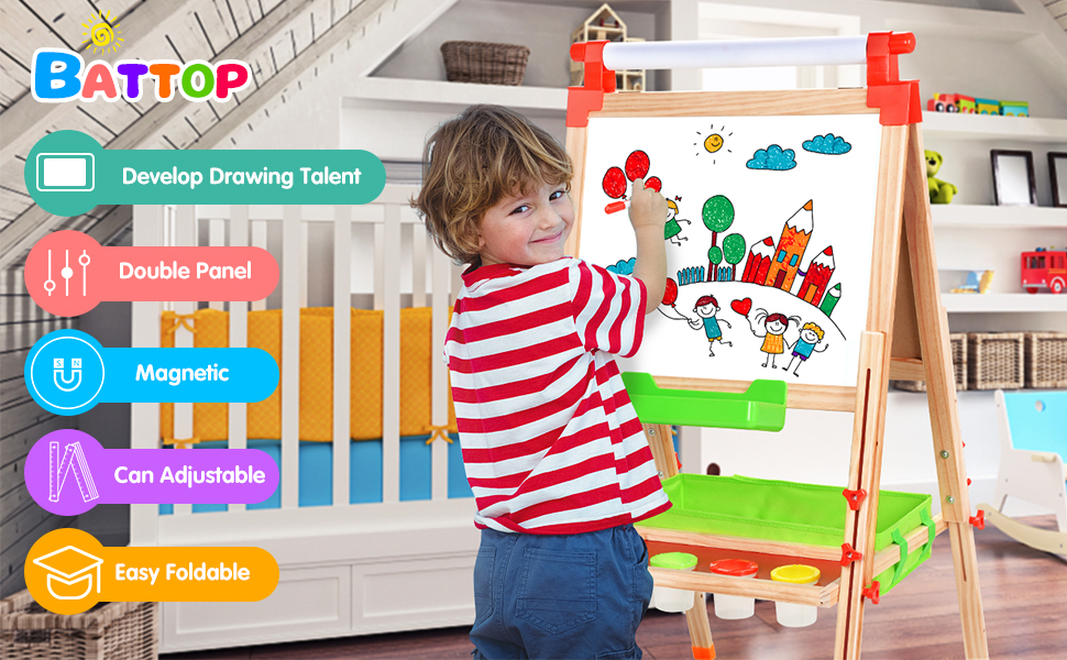 easel for kids - BATTOP Easel For Kids With Paper Roll, Art Easel For Kids 3 In 1 Double Sided Childrens Homeschool Easel Chalkboard Dry Erase Whiteboard Toddler Toy Easel Paint Cups Wooden Adjustable