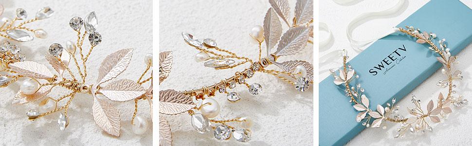 SWEETV Leaf Wedding Headpieces for Beide
