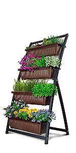 4-Bin 4 foot Vertical Garden in Espresso Brown