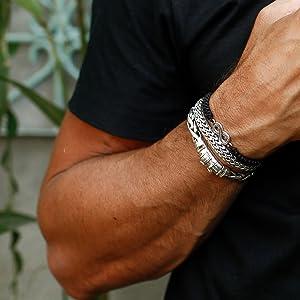 Kuzzoi Curb Cuban Bracelet Men 925 Silver Chainmaille Roundmaille Style Bali Byzantine Handmade