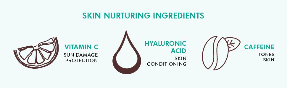 ingredients vitamin c sun damage protection hyaluronic acid skin conditioning caffeine tones skin