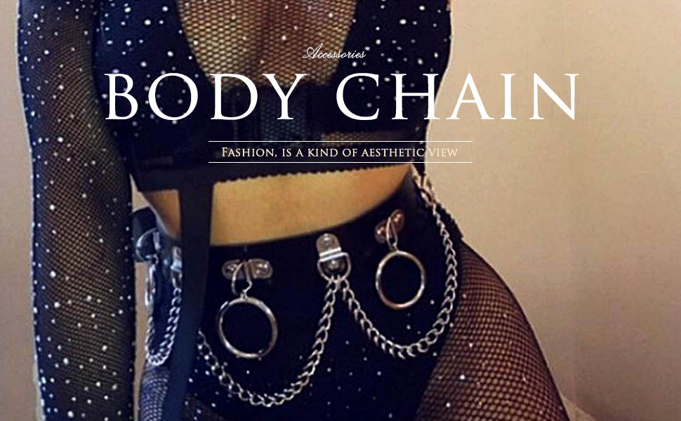 Victray Punk Waist Chain Belt Leather Body Chains Rave Body Jewelry Accessories for women and Girls Gold