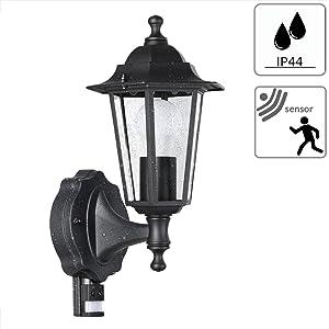 Monzana Farol de jardín Krysante con Sensor de Movimiento Aluminio 60W Antracita lámpara rústica de Pared Patio terraza: Amazon.es: Iluminación