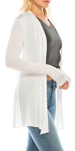 Women's Long Sleeve Cardigan, Lightweight Open Front Jersey Knit Sweater