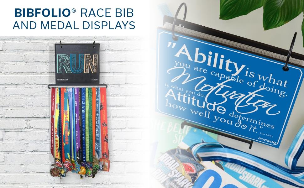 bibfolio race bib and medal displays
