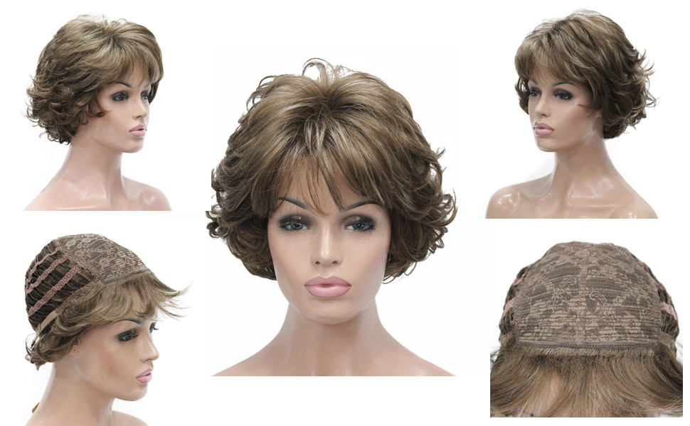 aimole short curly synthetic wigs full capless hair women's thick wig for everyday