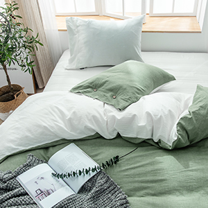 Washed Cotton Chambray Duvet Cover Solid Color Casual Modern Style Bedding Set Natural Wrinkled Look