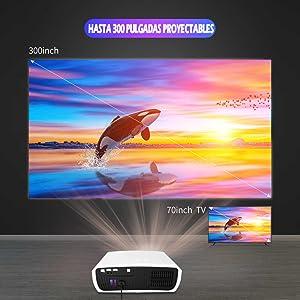 "proyector hasta 300"", proyector de led, proyector led 4k, proyector led 1080p, proyector fullhd"
