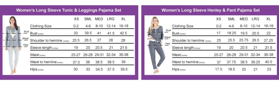 Sleepyheads Super Soft Pajama Size Chart