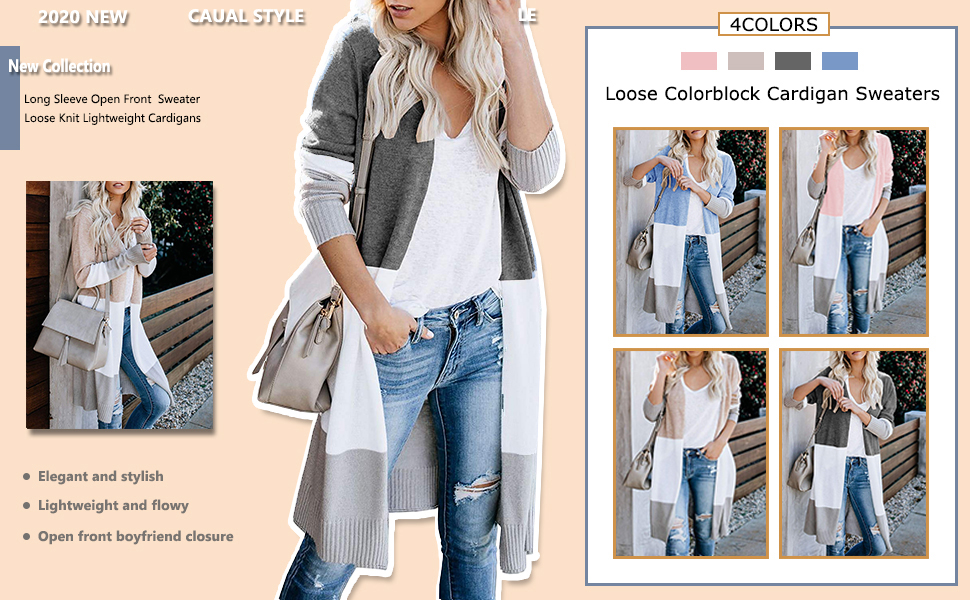 H2okp-009 Winter Women Color Block Long Sleeve Cardigan Open Front Tunic Knitted Sweater