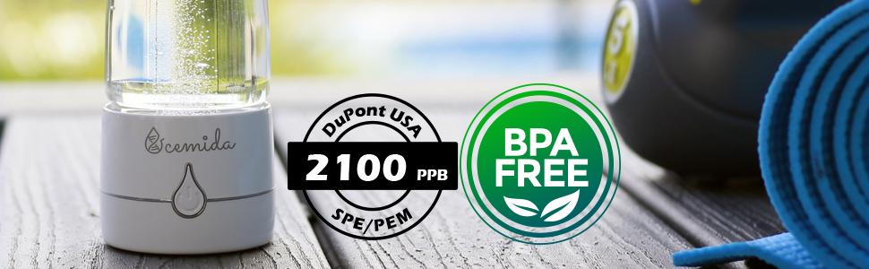BPA free hydrogen water bottle