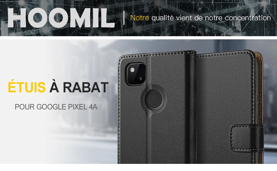 Portefeuille Etui en Cuir PU Premium Housse pour Google Pixel 4a HOOMIL Coque pour Google Pixel 4a Noir