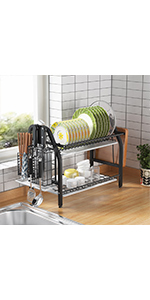GSlife Dish Drying Rack, Rustproof 2 Tier Dish Rack with Drainboard Stainless Steel Utensil Holder
