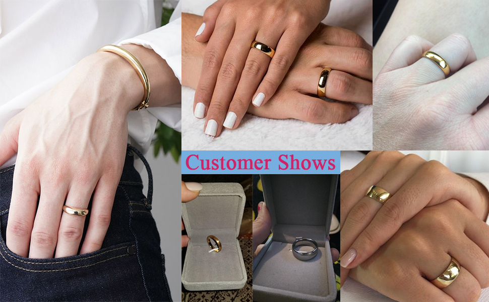 4mm Women's Titanium Rose Gold Wedding Band Ring 5mm 8mm Tungsten Rings for Men Women Engagement
