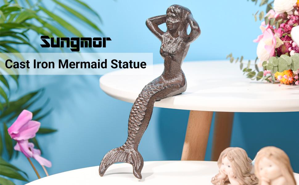 Statue de sirène en fonte