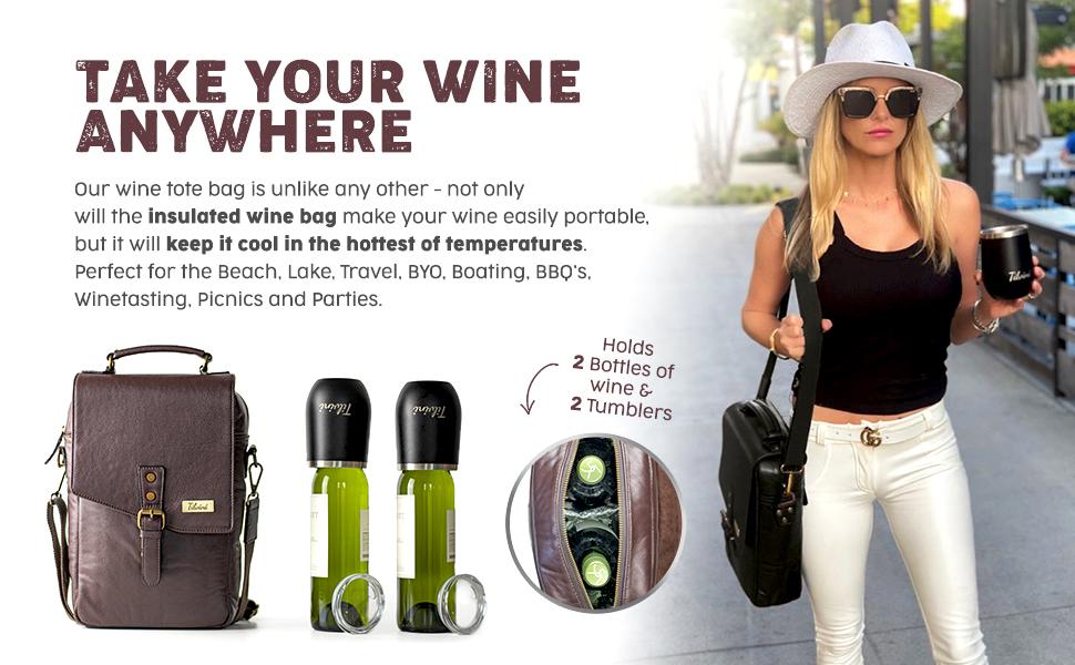 wine carrier portable shoulder bag style fashion leather bag bottles tumblers