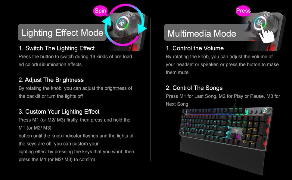 Mécanique Jeux Clavier, avec Repose-Poignet, Clés multimédias, Rétroéclairé LED Mixte