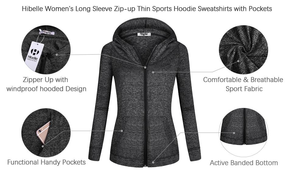 Hibelle Women's Full-Zip Fleece Lined Sports Hoodie Sweatshirts with  Pockets at Amazon Women's Clothing store