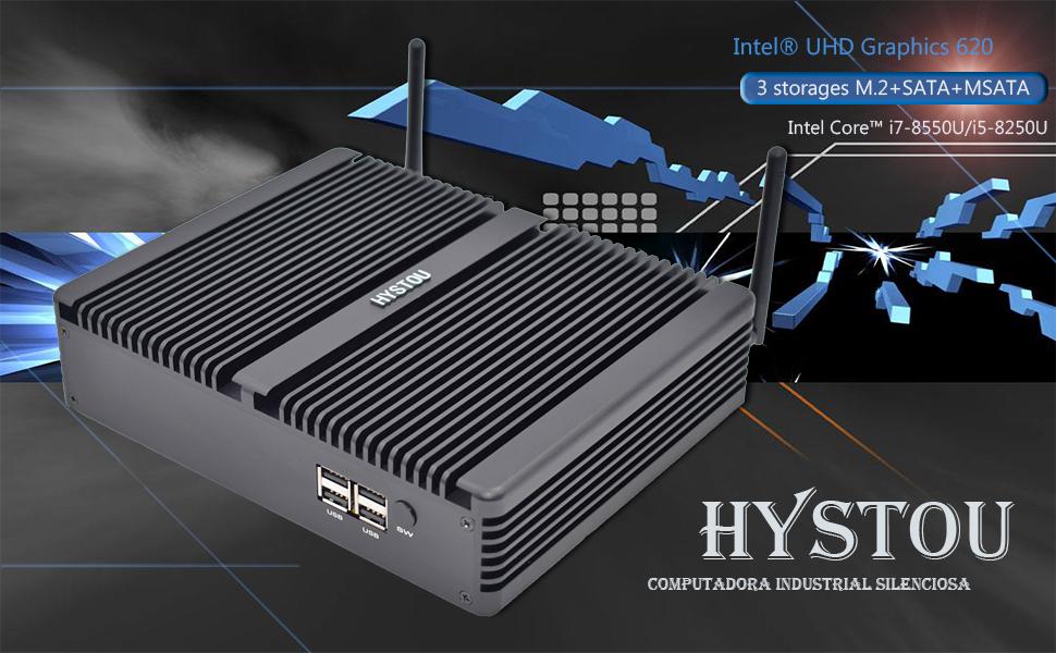 HYSTOU Escritorio Multimedia H5, Mini computadora sin Ventilador ...
