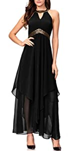 Halterneck Evening Gown Sleeveless Slim Flare Party Maxi Long Dress Black 3