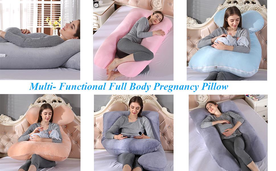 Back Upgrade 57 Inch J-Shape Full Body Maternity Pillow with Washable Velvet Cover Support for Legs U Shape 57 Blue Belly for Pregnant Women JIAN YA NA Pregnancy Pillow Hips