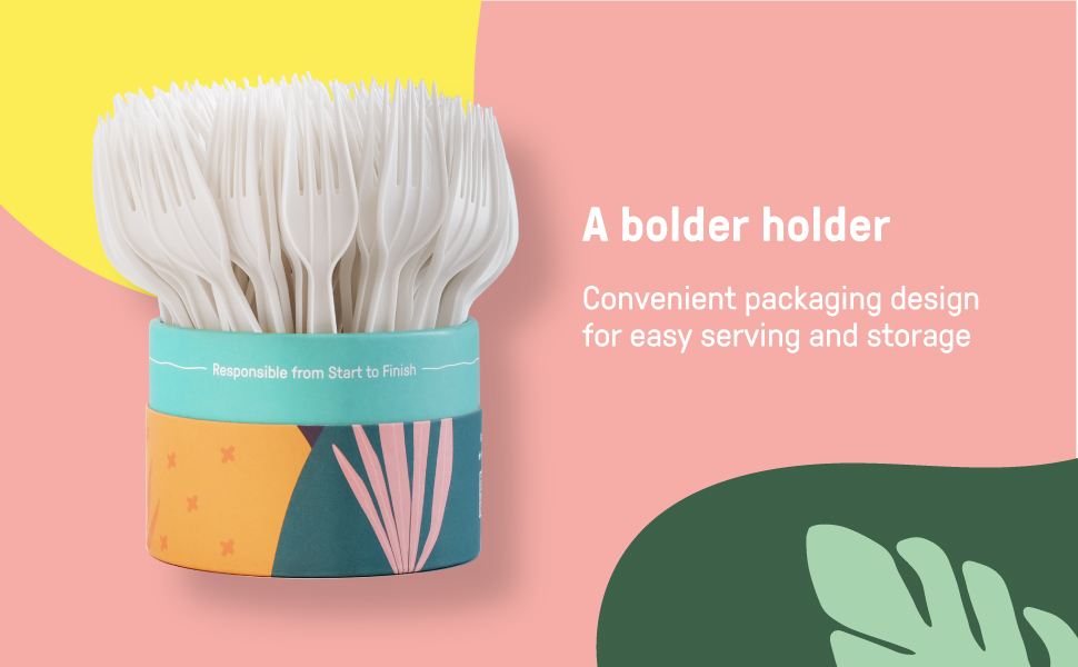 convenient fork holder packaging design for ease of serving and storage fully recyclable