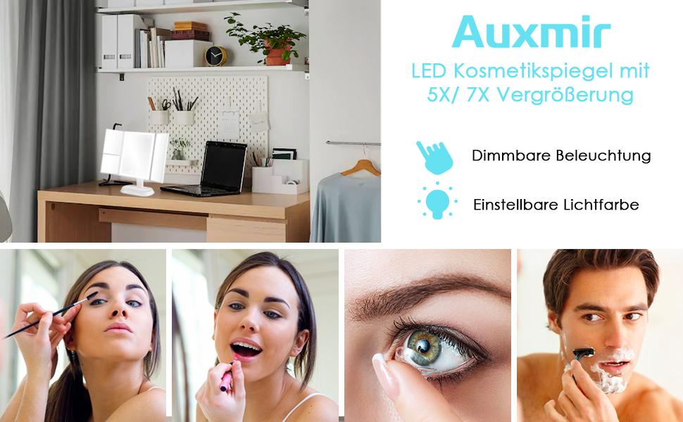 Kosmetikspiegel mit LED Licht Vergrößerungsspiegel Schminkspiegel Beleuchtet