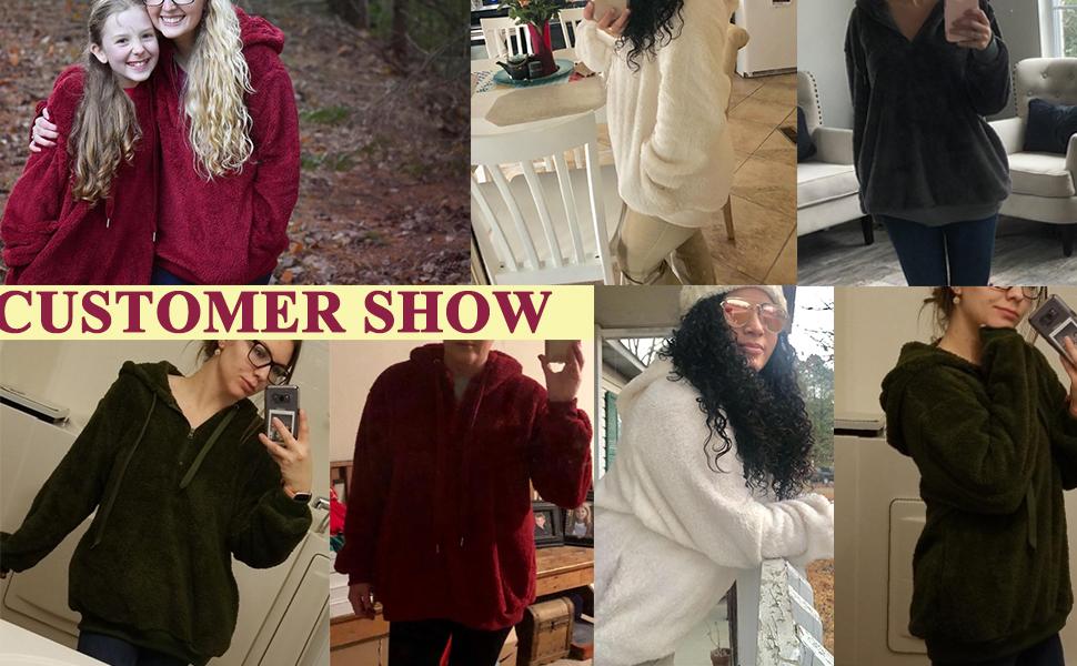 onlypuff Womens Sherpa Hoodie Sweatshirt winter warm tops