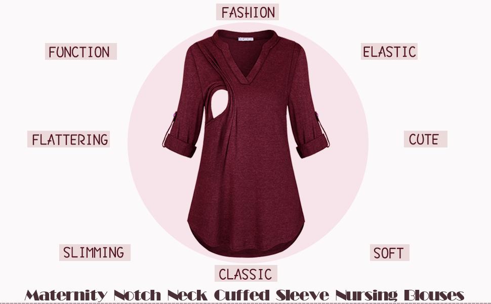 JOYMOM Maternity Notch Neck Cuffed Sleeve Nursing Blouses