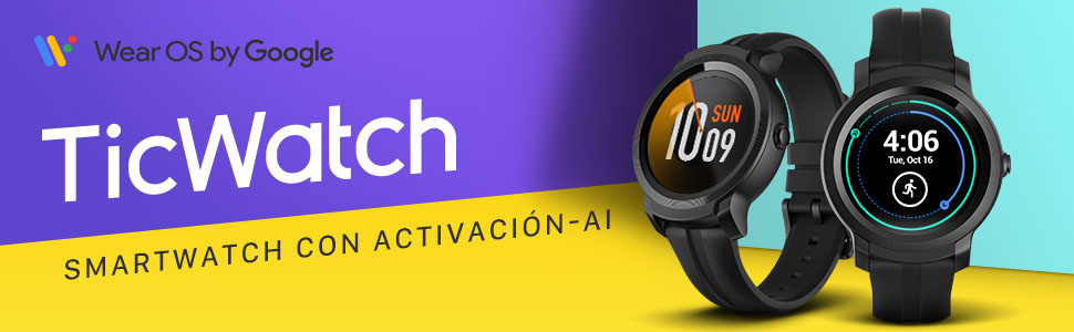 Ticwatch E2 Smartwatch Sistema operativo Wear by Google Fitness Smart Watches, 5 cajeros automáticos a Prueba de Agua y Listo para Nadar, Compatible ...
