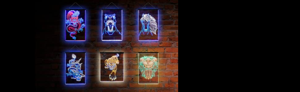 ADVPRO LED neon sign lineart art wildlife Japanese artwork Chinese dragon dinosaur lion horse tiger