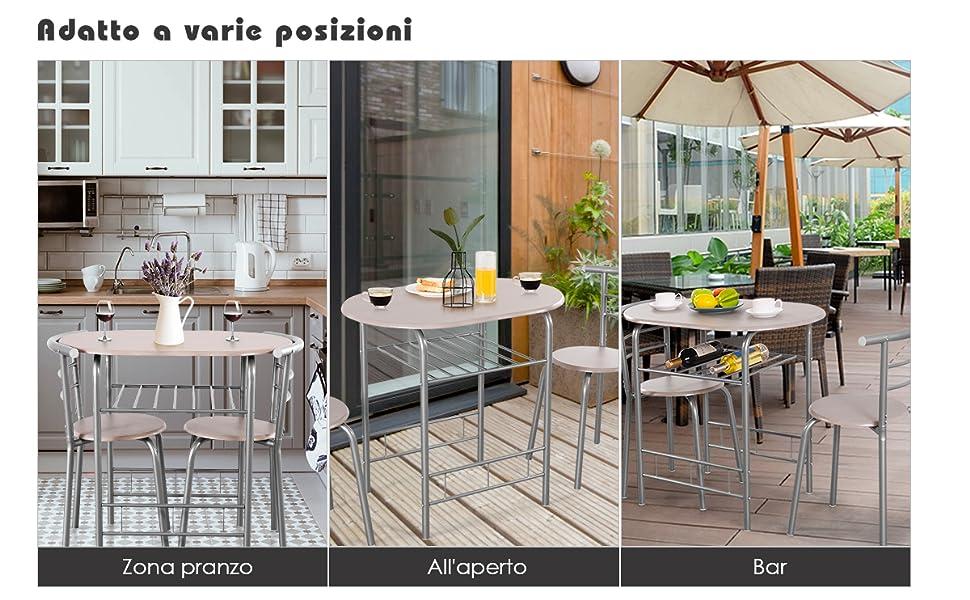 Set Mobili Salvaspazio Stile Moderno Goplus Set Tavolo con 2 Sedie da Pranzo Naturale+Grigio in Legno e Metallo