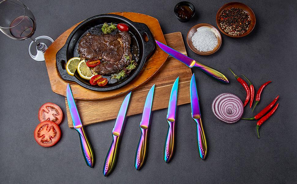 6 pcs rainbow steak knives set serrated edge sharp stainless steel hollow handle